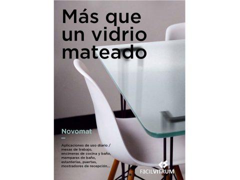 Portada Catálogo NOVOMAT vidrio mate de alta calidad. Vidrio decorativo técnico. Fácilvitrum